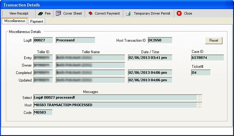 DMV Select - System Help - Transaction Details - DrLic